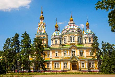 Orthodox Zenkov cathedral at Imeni park, Almaty, Kazakhstan Editorial