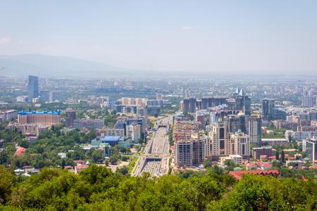 ata: View over Almaty skyline, Kazakhstan Stock Photo