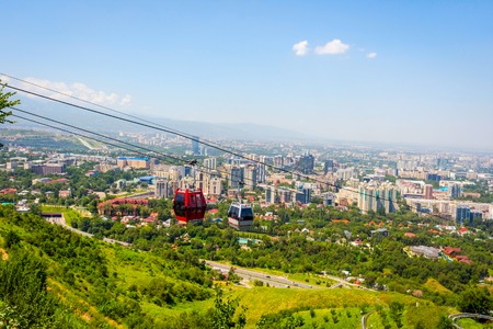 View over Almaty skyline and cable car, Kazakhstan Stok Fotoğraf
