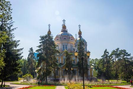 Orthodox Zenkov cathedral at Imeni park, Almaty, Kazakhstan Stock Photo
