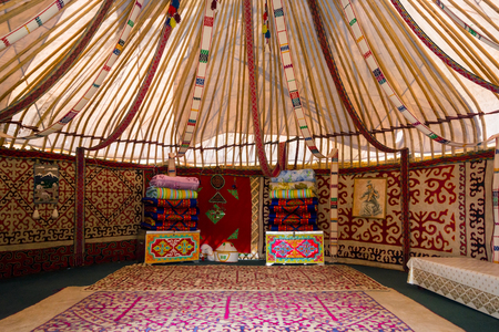 nomadic: Interior of the yurt, nomadic movable house typical of central asia, Kazakhstan Editorial