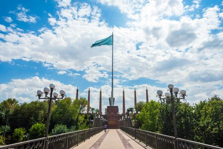 View over Shymkent independence park monument statue, Kazakhstan Stock Photo
