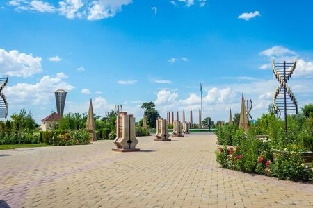 View over Shymkent independence park monument statue, Kazakhstan Editorial