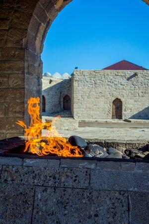 Fire burning at the fire temple, Baku, Azerbaijan Stock Photo