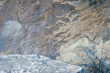 civilisation: Ancient petroglyph drawings on the rocks in Gobustan, Azerbaijan Stock Photo