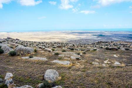 Rotsen en landschap in Gobustan-park, Azerbeidzjan