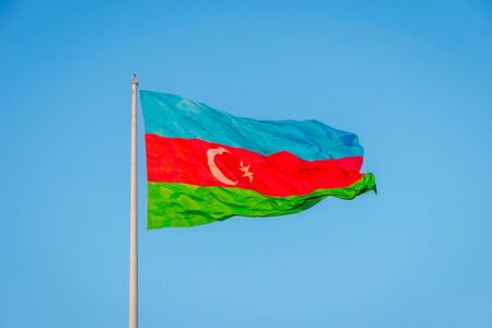 azeri: Azeri flag waving in wind at National flag square, Baku, Azerbaijan