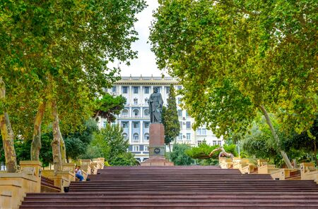 azeri: BAKU, AZERBAIJAN - SEPTEMBER 23: People walking on the staircase at Nizami park in Baku. Nizami street is a popular shopping area. September 2016
