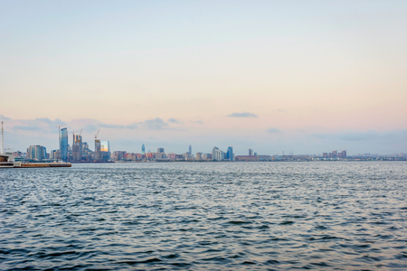 azeri: View over Baku skyline from Caspian waterfront, Azerbaijan