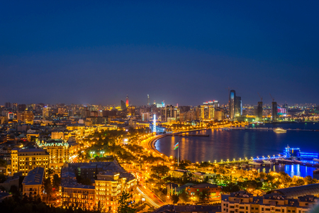 azeri: View over Baku skyline at night, Azerbaijan