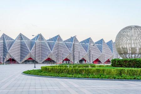 BAKU, AZERBAIJAN - SEPTEMBER 22: View to Crystal hall Eurovision contest building, designed by GMP international. September 2016 Editorial