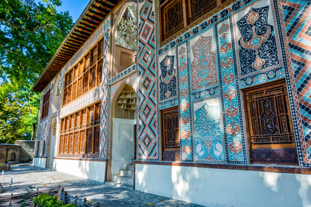 Colorful Xan Sarayi, palace of Khan in Sheki, Azerbaijan