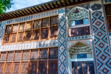 azeri: Colorful Xan Sarayi, palace of Khan in Sheki, Azerbaijan