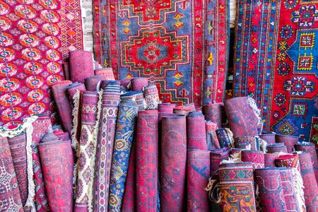 Traditional red and blue uzbek carpets Stock Photo