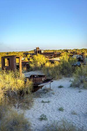 Rusted ship at ship cemetery at Aral Sea, Uzbekistan Stock Photo