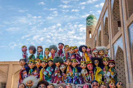Uzbek puppets dressed in traditional clothes in Khiva old town, Uzbekistan