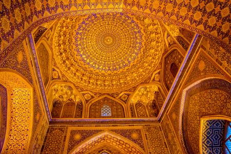 Golden ceiling of Tilya-Kori Madrasah, Registan, Samarkand, Uzbekistan