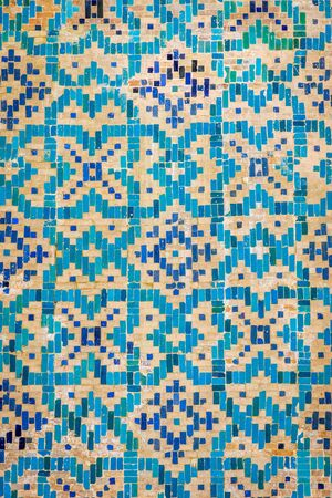 registan: Detail of blue mosaic tiles at exterior wall of Samarkand Registan, Uzbekistan Stock Photo