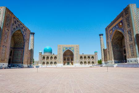 registan: Registan mausoleum, famous landmark of Samarkand, Uzbekistan