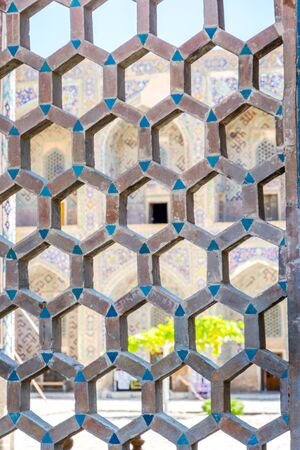 registan: Hexagonal ornaments detail at Samarkand Registan, famous landmark of Uzbekistan