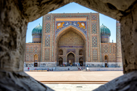 thru: View to Sher Dor madrasah thru the wall, Samarkand Registan, Uzbekistan