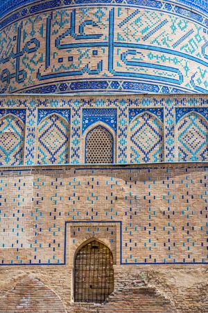 xv century: Detail of blue mosaic at Bibi-Khanym (Bibi-Xonum) Mosque, Samarkand, Uzbekistan Stock Photo