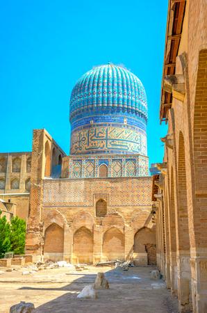 xv century: Bibi-Khanym (Bibi-Xonum) Mosque, Samarkand, Uzbekistan with blue mosaics