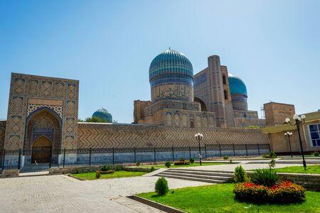 xv century: View to Bibi Khanum mausoleum with garden around, Samarkand, Uzbekistan.