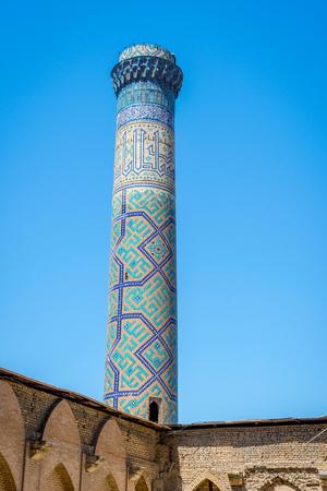 Minaret with blue tiles, Samarkand, Uzbekistan Banco de Imagens