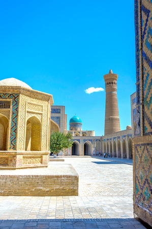 Atrium and minaret of Kalyan mosque, Bukhara, Uzbekistan