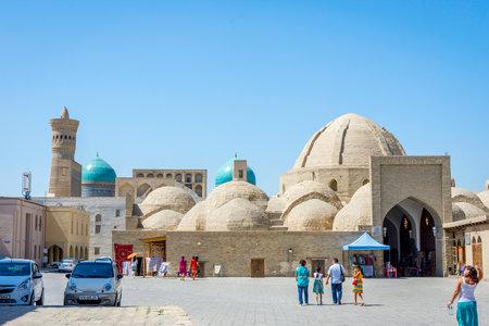 BUKHARA, UZBEKISTAN - AUGUST 31: View to domes of  Bukhara Taqi Zargaronn Bazaar on sunny day. August 2016