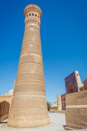 View to Kalyan minaret, landmark of Bukhara, Uzbekistan Stock Photo