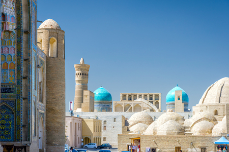 View over Bukhara downtown with domes, Uzbekistan Stock Photo