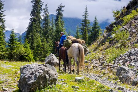 KARAKOL, KYRGYZSTAN - JULY 30: Guy riding a horse and transporting stuff to the base camp in Karakol national park. July 2016