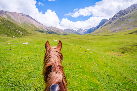 View over green valley and mountains from the horse back, Altyn Arashan, Kyrgyzstan