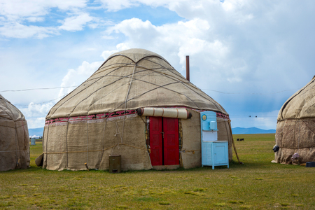 Yurt, typical nomad houses by the Song Kul lake, Kyrgyzstan
