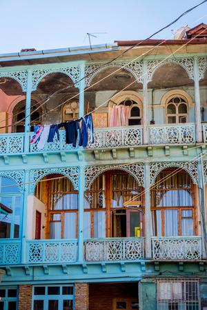 Old style wooden Georgian balconies from the yard, Tbilisi, Georgia