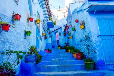 Blue street with colorful flower buckets in Chefchaouen, Morocco