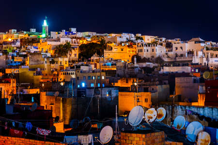 View over Tangier skyline at night, Morocco