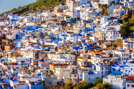 Chefchaouen, blue city skyline on the hill, Morocco Stok Fotoğraf