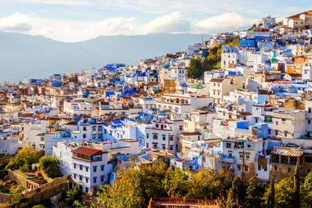 Chefchaouen, blue city skyline on the hill, Morocco Stockfoto