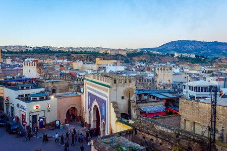 Fez city medina old town skyline in twilight, Morocco
