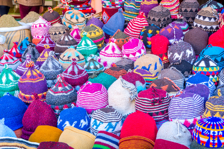Colorful winter hats made of wool for sale, Morocco Stock Photo