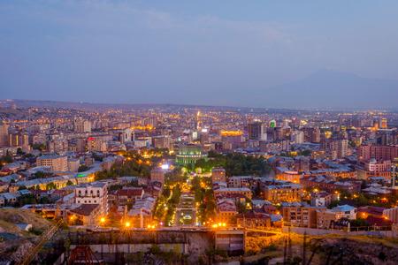 View over Yerevan, capital of Armenia, at night