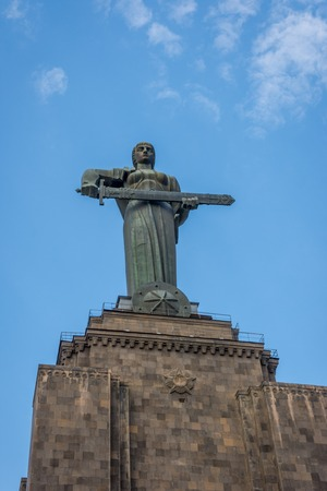 Mother Armenia monument overlooking Yerevan in Victory park Stock fotó