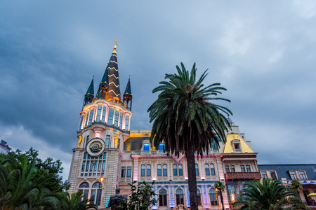 Batumi, Georgia - August 25, 2017: Astronomical clock tower, on the restored facade of the former National Bank building in Europe park