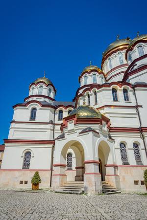New Athos, AbkhaziaGeorgia - Sep 2, 2017: The building of Novy Afon orthodox monastery