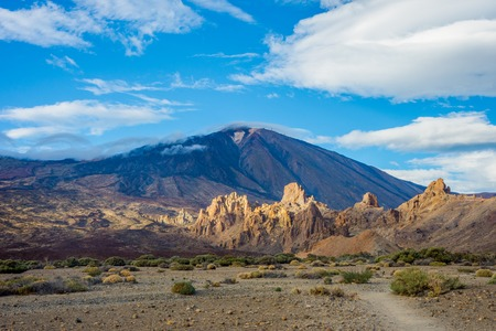 Teide peak from below with clouds hat, Tenerife, Canary islands