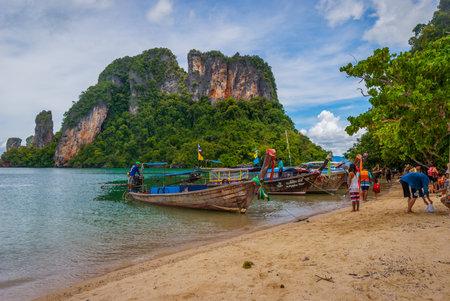 Krabi, Thailand - Oct 2, 2015: Boats on the sandy beach on scenic Krabi islands Sajtókép