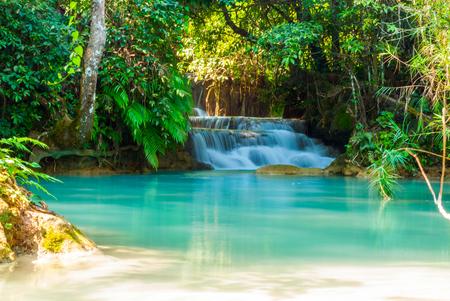 Turquoise water of Kuang Si waterfall, Luang Prabang, Laos Stock Photo
